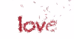 """Word """" love"""" in shape of music notes Stock Footage"""