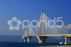 Suspension bridge crossing Corinth Gulf Stock Photos