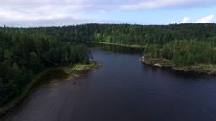 Fly over water and forest on island of Valaam. Aerial view. Stock Footage