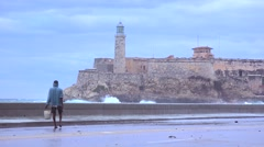 The Morro castle and fort in Havana Cuba with large waves foreground. Stock Footage