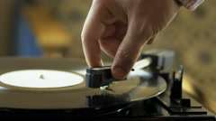 Person using a vinyl record player Stock Footage