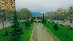 TIRANA CITY ALBANIA AERIAL LANA RIVER BRIDGE AERIAL DRONE 2.5K Stock Footage