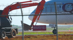 Construction work at the airport Stock Footage