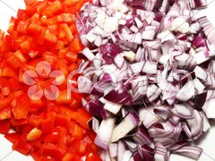 Red pepper and red onion Stock Photos