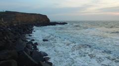 Coastline and groyne Stock Footage