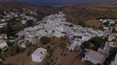 Aerial of mountain village on Paros, Greece Stock Footage