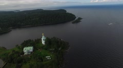 The landscape of the island of Valaam. Aerial view. Stock Footage