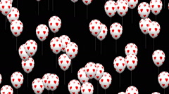 Valentine heart balloons generated seamless loop video with alpha matte Stock Footage