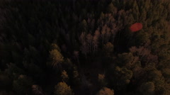 Flying Over Mountain Forests at Sunset Revealing Vista Stock Footage