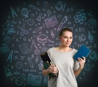 Student with math and science formula Stock Photos