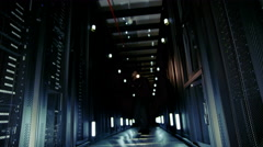 A suspicious man dressed all in black has broken into a data center Stock Footage