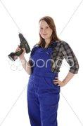 Junge Frau, Mädchen im Blaumann Stock Photos