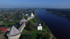 The ancient fortress on the banks of the river. Aerial view. Stock Footage