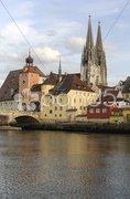 Regensburg Altstadt Dom steinerne Brücke Stock Photos