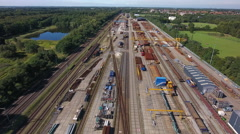 Railroad spare parts and repair station, aerial. Stock Footage