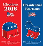 American Presidential Election Party Banners Stock Illustration