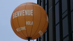 Welcome balloon / Welcome written in many languages Stock Footage