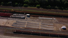 Spare railroad parts, aerial Stock Footage