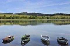 Boats on Lake Diemelsee, Heringhausen, Waldeck-Frankenberg, Hesse, Germany Stock Photos