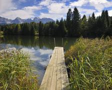 Jetty and Long Reeds, Wagenbruechsee, Werdenfelser Land, Upper Bavaria, Bavaria, Stock Photos