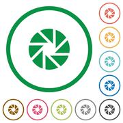 Aperture outlined flat icons Stock Illustration