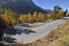 Hairpin Turn, Bernina Pass, Pontresina, Canton of Graubunden, Switzerland Stock Photos