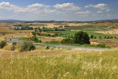 Tuscany Countryside in the Summer, Asciano, Siena Province, Tuscany, Italy Stock Photos