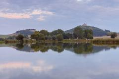 Landscape with Wachsenburg Castle Reflecting in Lake, Drei Gleichen, Ilm Stock Photos