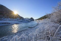 River Isar in Winter with Sun and Hoar Frost, Isar Valley, Karwendel, Stock Photos
