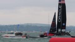 Sailing boat in a regatta Stock Footage