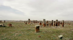 Winter Historic Cemetery -view against General grave Stock Footage