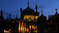 Brighton pavilion floodlit at night Stock Footage
