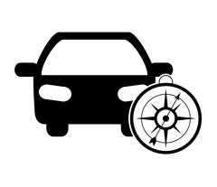 Car and compass icon Stock Illustration