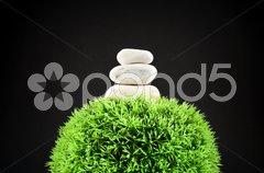Three stones and grass ball Stock Photos