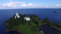 Flying  over Nikolsky Skete on Valaam island. Aerial view. Stock Footage