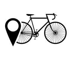 Bike or bicycle and gps map pointer icon Stock Illustration