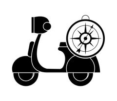 Scooter and compass icon Stock Illustration