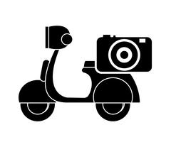 Scooter and camera icon Piirros