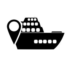 Cruise ship and gps map pointer icon Stock Illustration