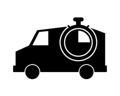 Truck or van and analog chronometer icon Stock Illustration