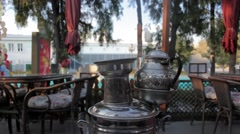 ANKARA , TURKEY 10 APRIL 2016: under trees, samovar for tea steeped. Stock Footage