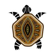 Yellow-brawn turtle in first-nation style Stock Illustration
