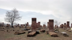 Winter Historic Cemetery -  closely tombstones Stock Footage