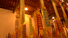 Chiang Mai, Thailand Buddhist Temple Flags Stock Footage