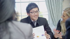 Successful business team of mixed ages and ethnicity Stock Footage