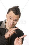 Manager, Business-Punk zeigt mit dem Finger Stock Photos