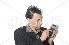 Business-Punk, Manager mit Taschenrechner Controler Stock Photos