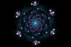 Abstract fractal galactic blue flower with pearl Stock Illustration