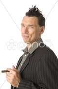 Business-Punk, Manager raucht Zigarre Stock Photos