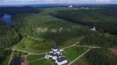 Beautiful scenery of the island of Valaam. Aerial view. Stock Footage